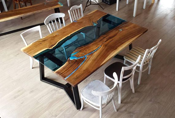 live edge river dining table with bench and glowing resin fill in in rh pinterest com