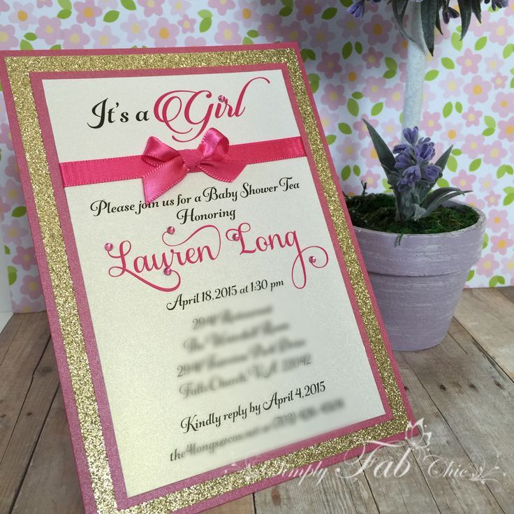 unique homemade baby shower invitation ideas%0A Hot pink and Gold glitter custom handmade luxury baby shower invitation