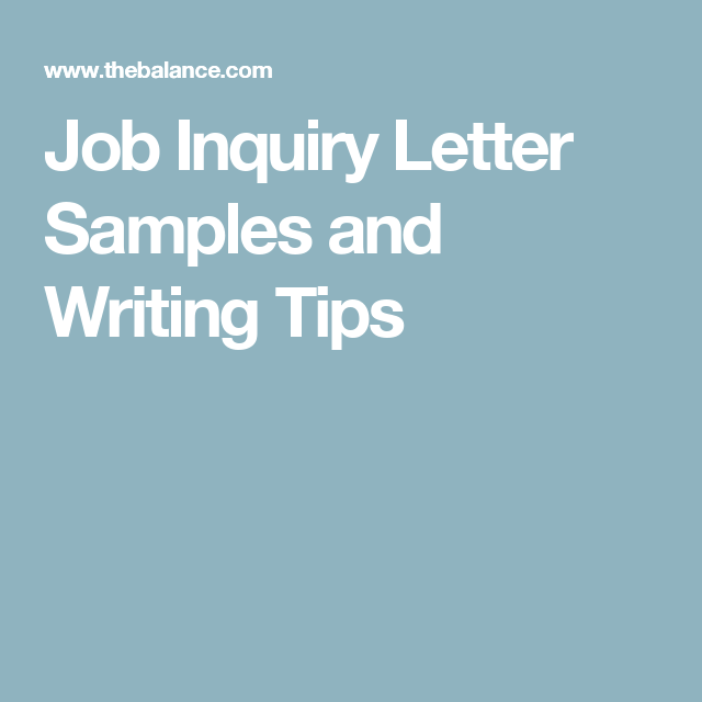Looking for a New Job How to Write an Inquiry Letter Letter