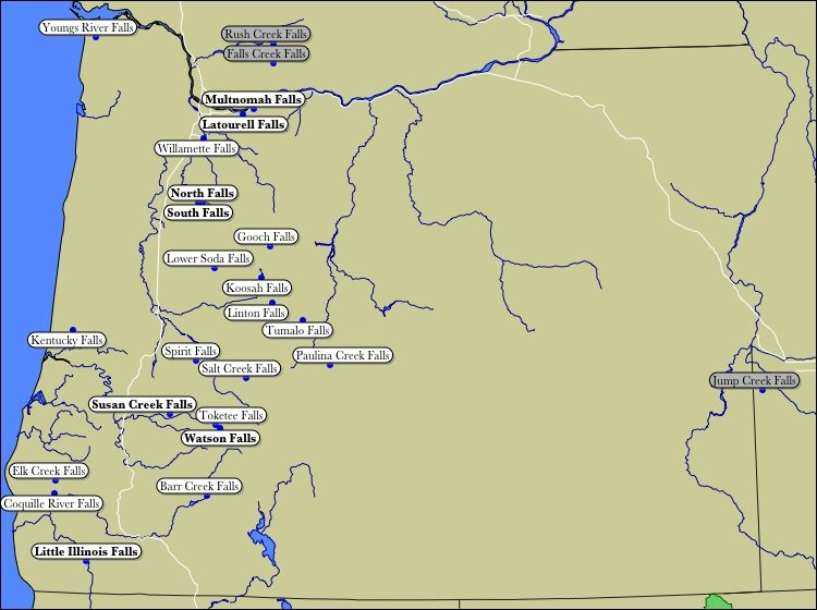 Map of Oregon WaterFalls. -- This SHOULD say, Falls in Western ...