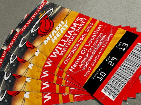 Miami Heat Birthday PartyEvent Ticket Invitation  X  On