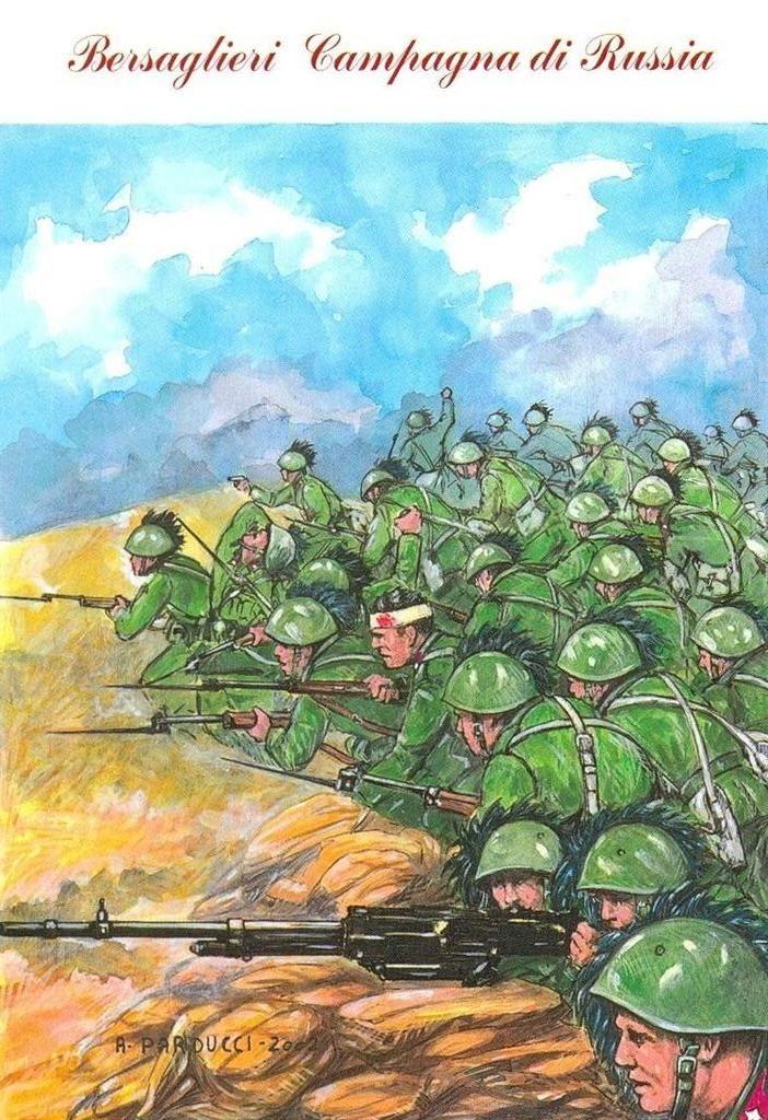 Regio Esercito - Nel combattimento di Q.331 di Orlow Jwanowka del 27 gennaio 1942 il VI e il XIII Battaglione del 6° Reggimento Bersaglieri contrattaccarono eroicamente e vittoriosamente il nemico.