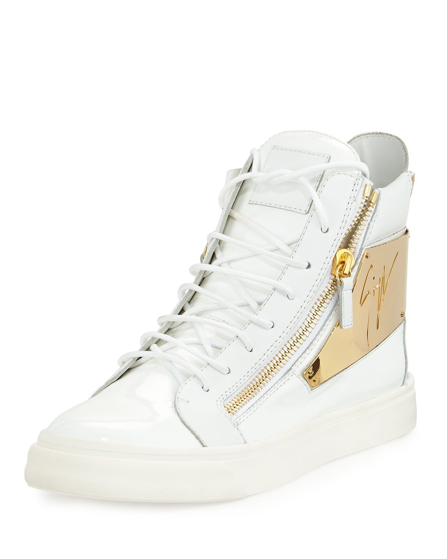 7798c03d62f Men's Patent Logo-Plate High-Top Sneaker White | *Apparel ...