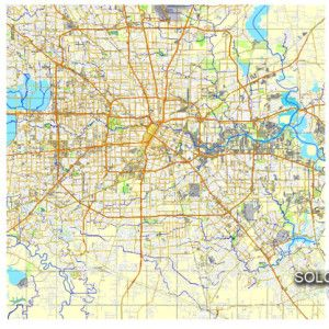 graphic about Houston Map Printable named Houston, Texas, US printable vector road Metropolis Method map