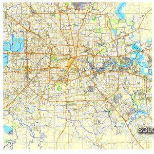 Houston printable and editable map in vector Texas USA Vector