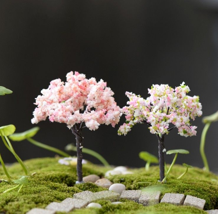Home Decor Bonsai Miniatures Flower Fairy Garden Trees Figurine Micro landscape