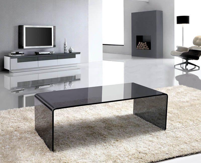 Smoke Gray Glass Coffee Table Waterfall Style Bent Glass   eBay - Smoke Gray Glass Coffee Table Waterfall Style Bent Glass EBay