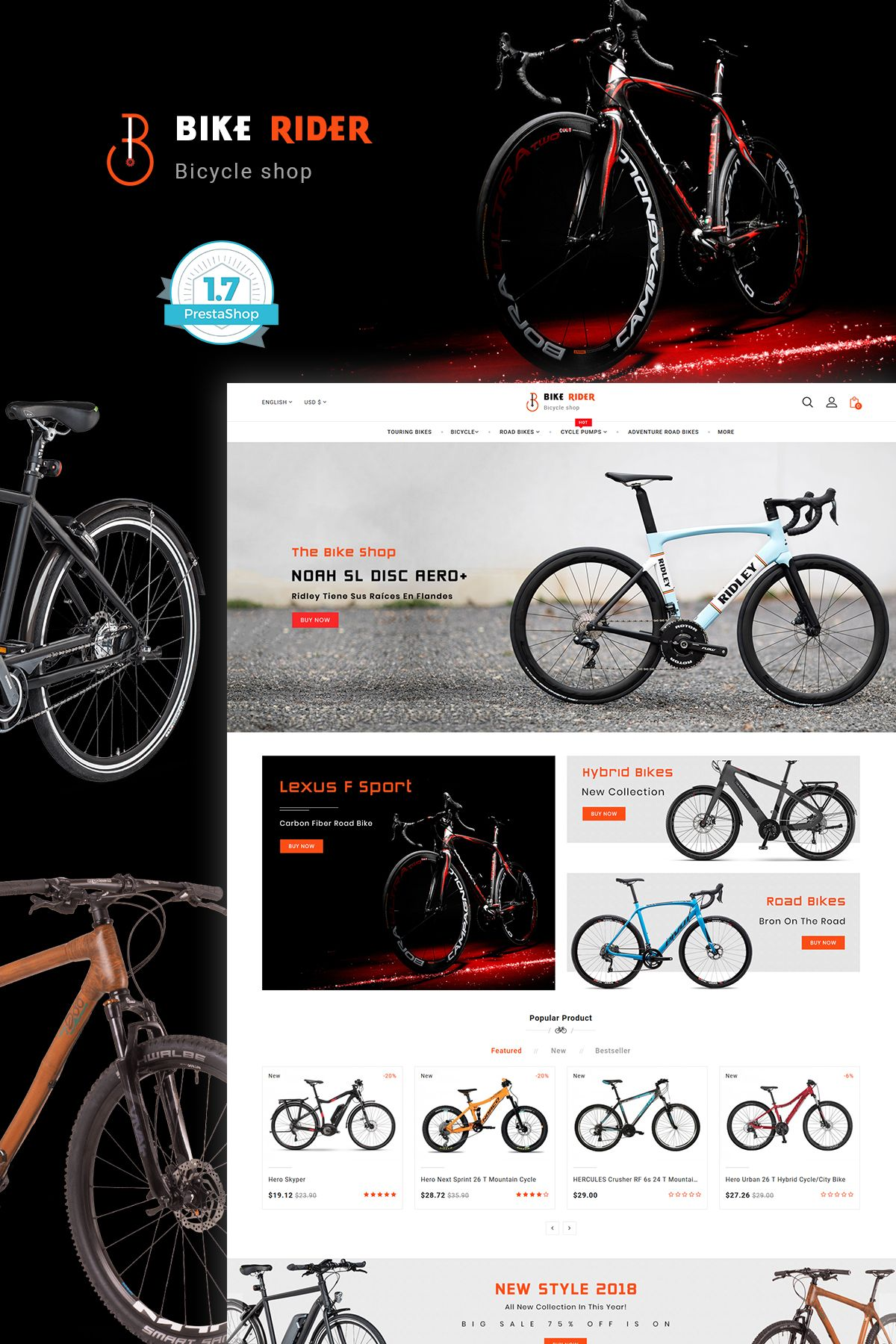 Bike Ryder The Bicycle Store Template With Images Bicycle