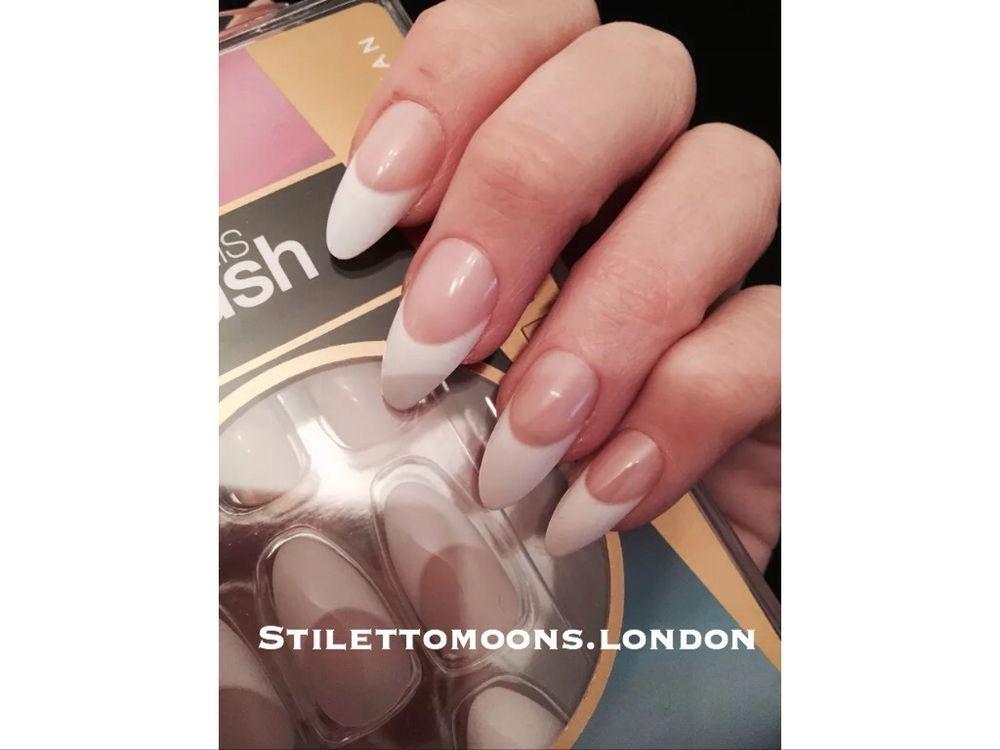 Pretty Woman Stiletto Almond Coffin False Nails French Manicure ...