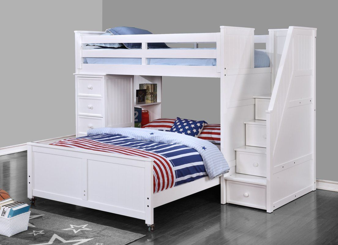 Raub Twin Over Full L Shaped Bunk Bed With Bookcase And Drawers Bunk Beds With Stairs Bunk Bed Designs Bed Interior