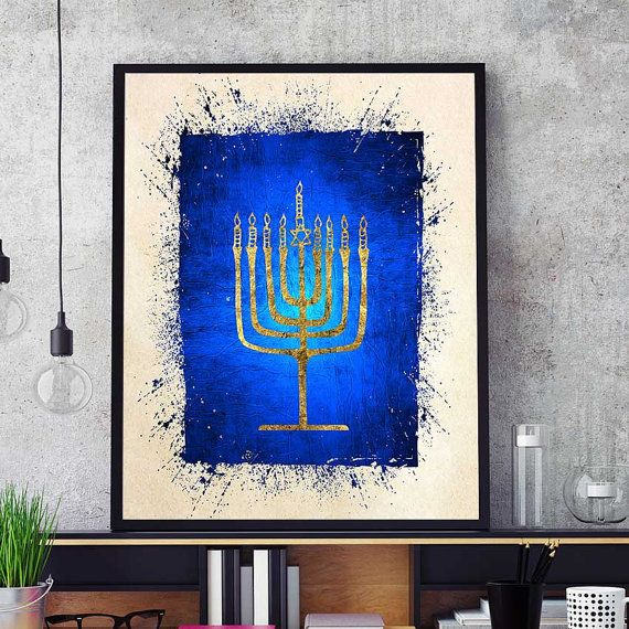 Menorah Print Hanukkah Print Jewish Wall Art Menorah Hanukkah Art Jewish Candelabrum Israel Home Decor Theme Watercolor Menorah Yoga Decor Indian Wall Art Painting