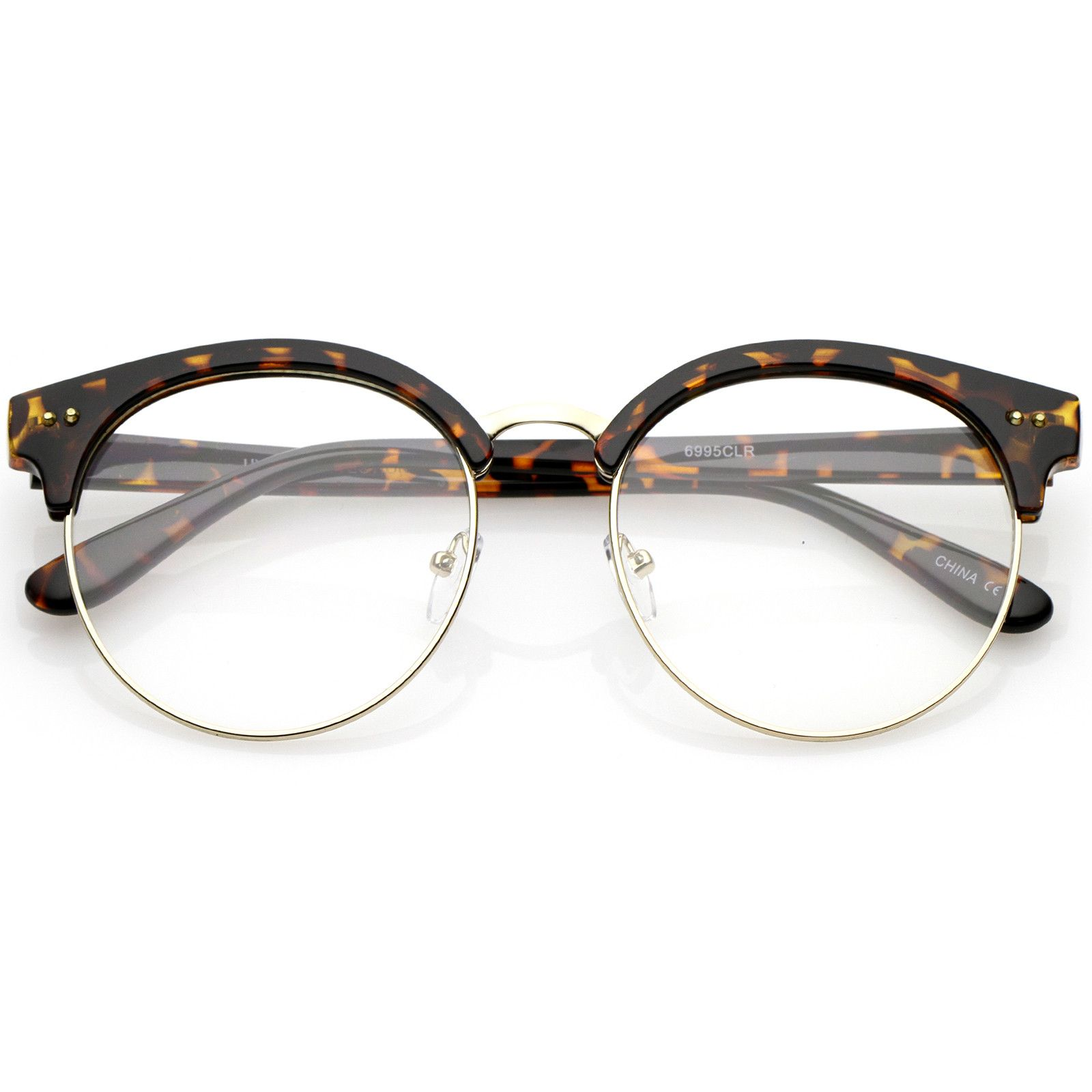 Classic Horn Rimmed Round Clear Flat Lens Half Frame Eyeglasses