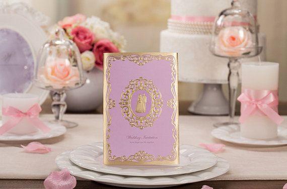 Lila Invitaciones de boda, Invitaciones nupciales púrpuras de la ducha, diseño modificado para requisitos particulares, boda invita tarjetas