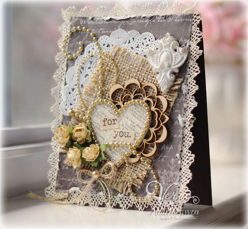 Vintage Card Cafe Challenge using wood cut