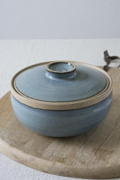 Photo of Lidded Blue Ceramic Casserole Dish