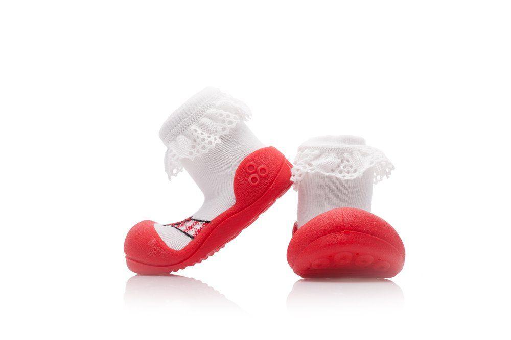 Czerwone I Przewiewne Buciki Attipas Balet Red Dla Dziewczynki Fashion Fur Slides Shoes