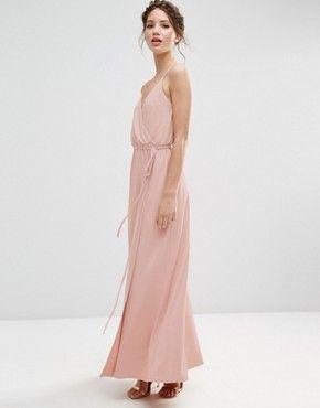 ASOS WEDDING Crepe Strappy Wrap Maxi Dress Pink