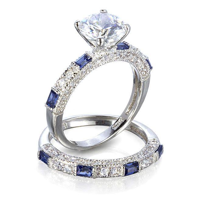 Anastasia\'s Sapphire Blue Wedding Ring Set - 5 / Sterling Silver ...