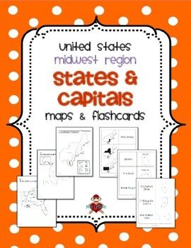 Us Midwest Region States Capitals Maps Social Studies Us - Map-of-us-midwest-states