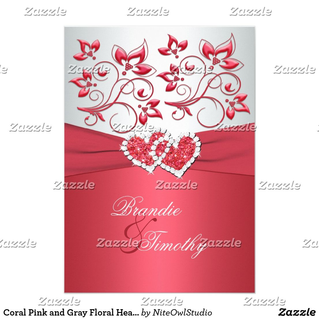 Coral Pink and Gray Floral Hearts Wedding InviteAdd some sparkle and ...