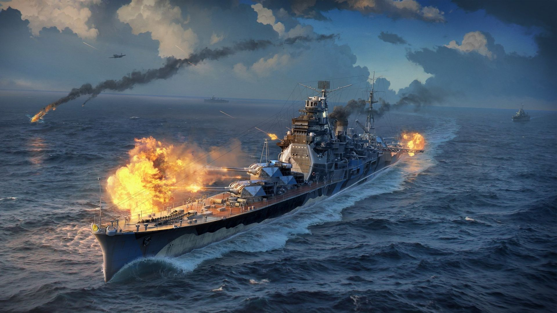 Download Wallpaper 1920x1080 World Of Warships Wargaming Net Wows Full Hd 1080p Hd Background World Of Warships Wallpaper Warship Warship Games