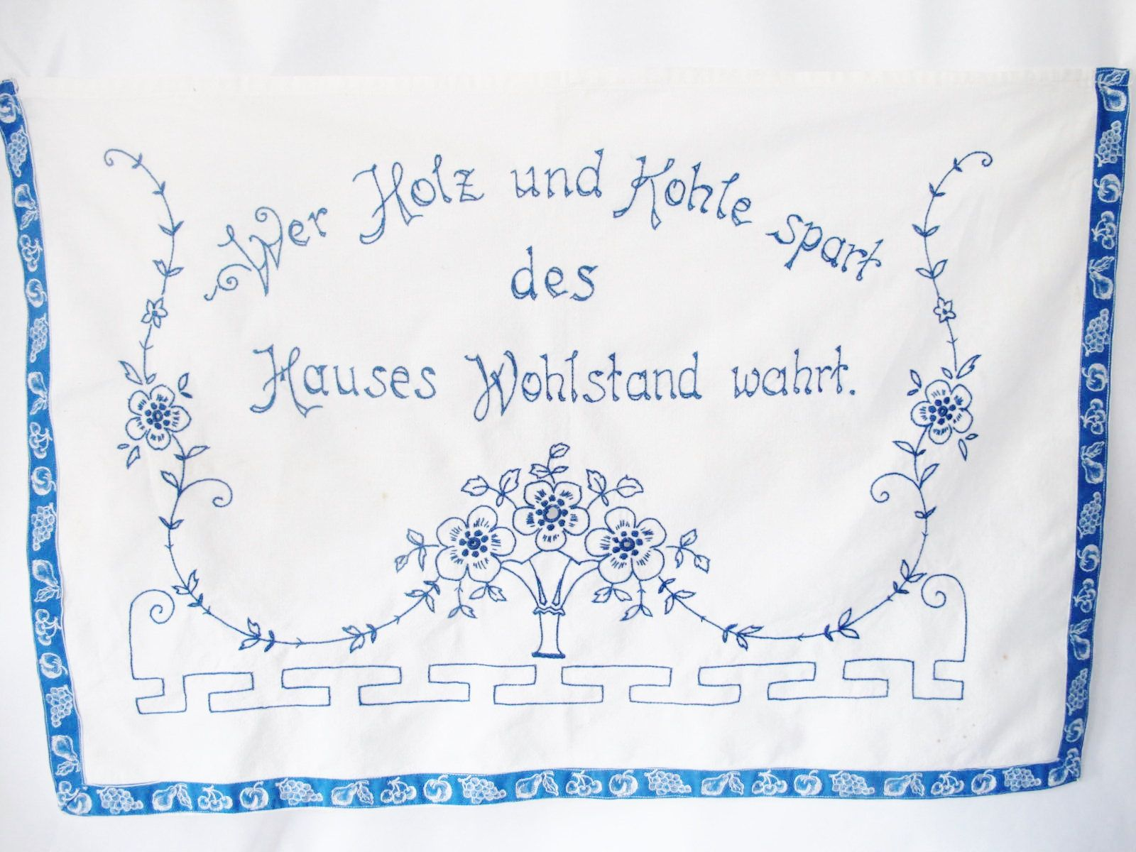 Embroidered Wall Hanging Austrian Viennese Art Nouveau Wood And Coal Kohle Saving Energy 1930s Rhyme By Alpinecou Save Energy Wall Hanging Art Nouveau