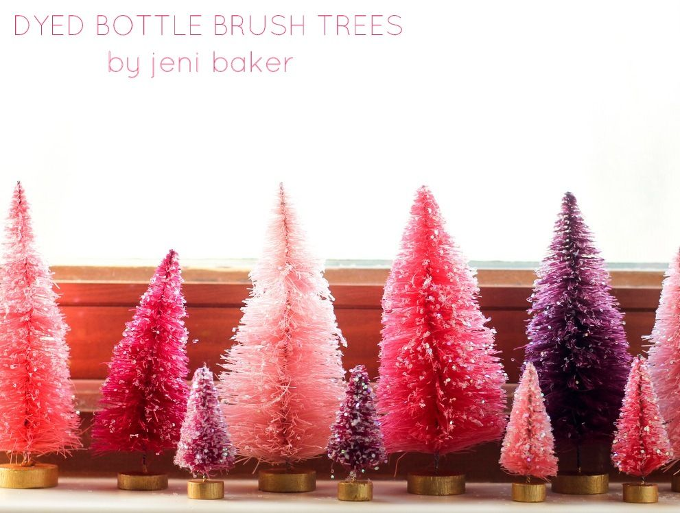 diy dip dyed bottle brush trees