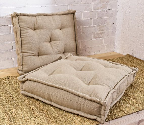 Wool Filled Square Tufted Chair Cushion Floor Cushion 15 X 15