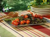 Asparagus and Tomato Skewers with Honey Mustard-Horseradish Sauce    Recipe courtesy Bobby Flay