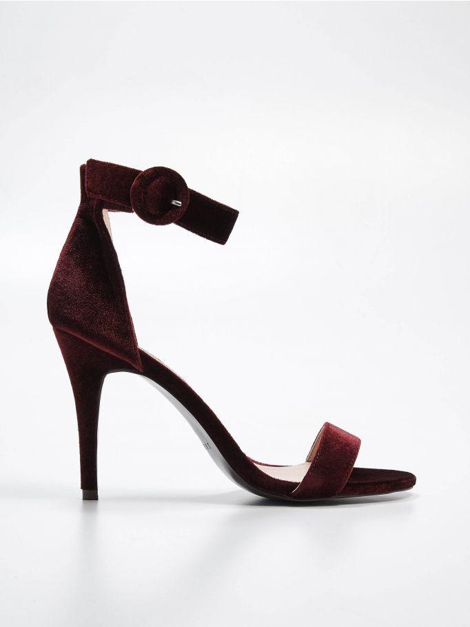Welurowe Sandaly Na Szpilce Gold Label Mohito Qz601 93x Velvet High Heels High Heel Sandals Heels