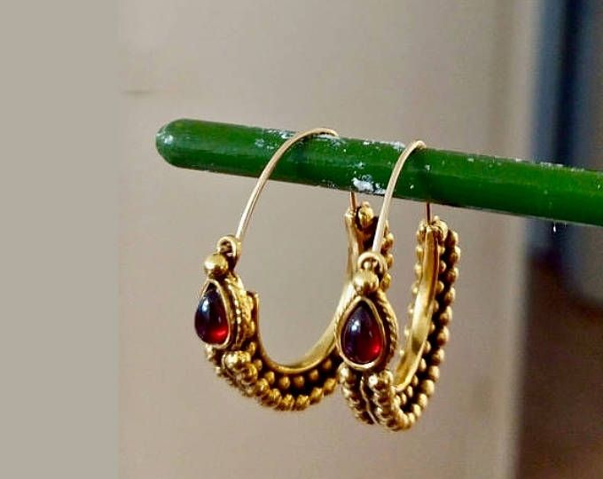 On Red Garnet Earrings Jewelry Gold Gemstone