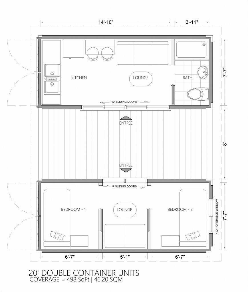 20 Feet Container Home Plan With Optimum Utiluzation Of