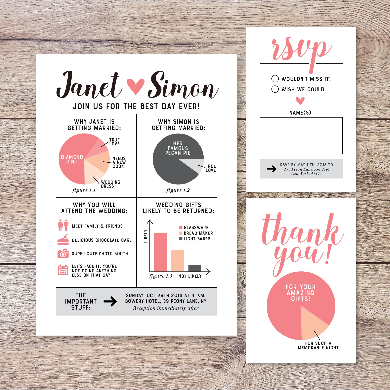 Funny Wedding Invitation, Infographic Wedding Invitation
