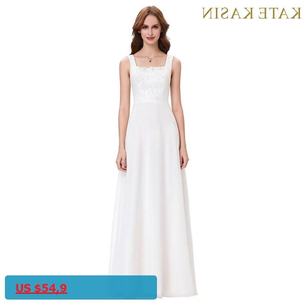 Kate kasin white evening dresses long robe de soiree longue