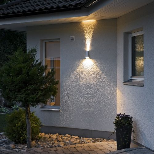 Moderne LED Wandleuchte aus Aluminium in anthrazit, mit up