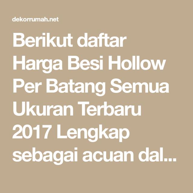 Daftar Harga Besi Hollow