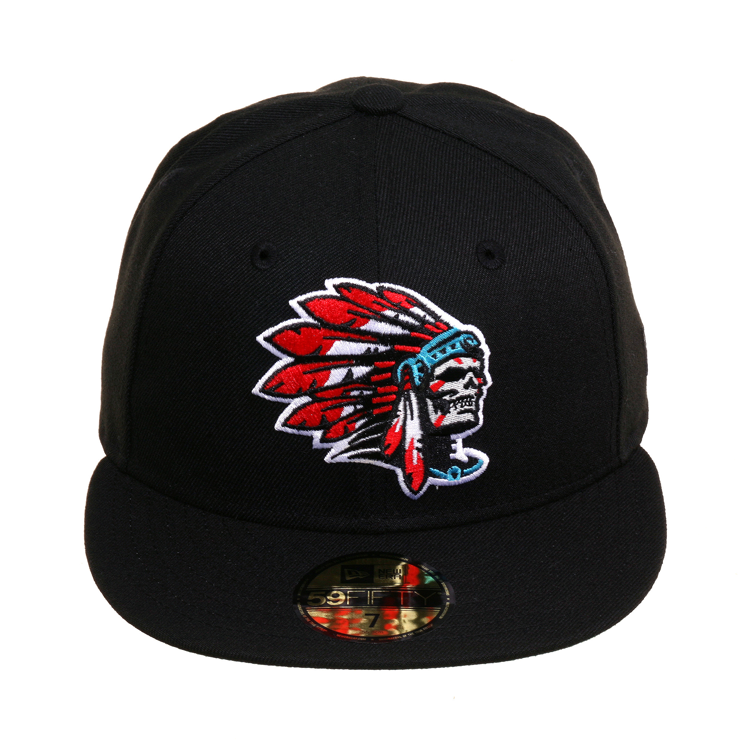 4298f063acb9 ... 59Fifty Fitted - Black Crown & Visor - Green Undervisor - Skull Chief  Logo Embroidered on Front - 100% Polyester *