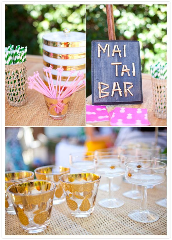 purple themed bridal shower%0A Tiki tropical bridal shower bar   http   www    layercake com