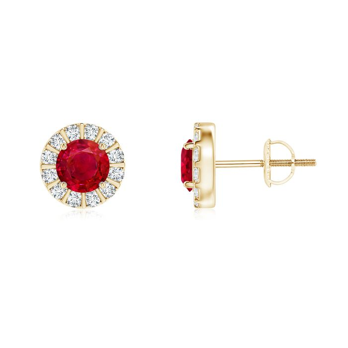 Angara Vintage Oval Ruby Halo Studs in 14k Yellow Gold j4IVn