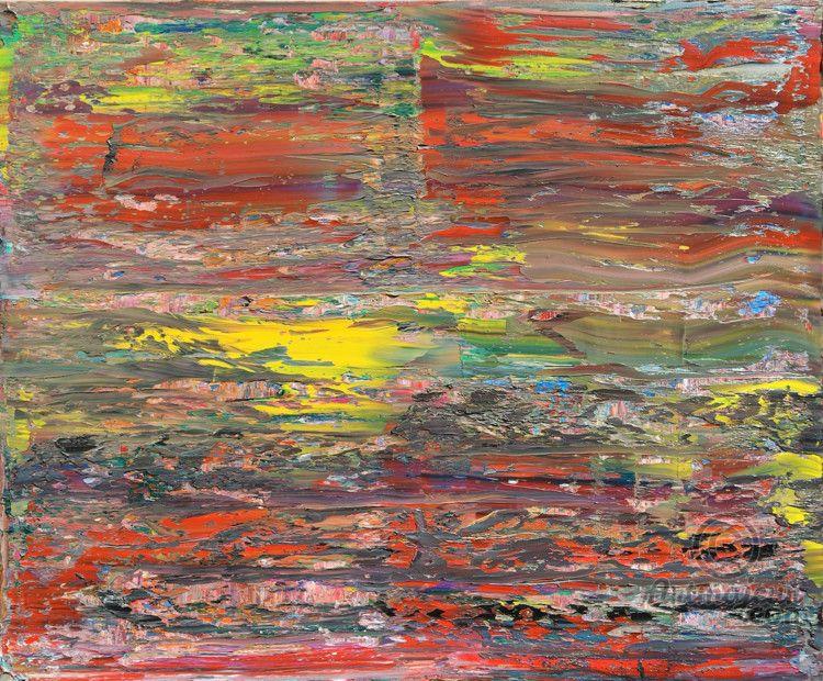 Abstract oil painting - RM 812 - 16 (Painting),  120x100x1.8 cm by Rico Mocellin Die Ölgemälde haben eine abstrakte Stil, viele Farben werden verwendet, um das Ergebnis sind bunte Kunstwerke mit unterschiedlichen Texturen.  Rico Mocellin's Kunstwerke sind das Ergebnis seiner Verrücktheit, in Farben umgewandelt.