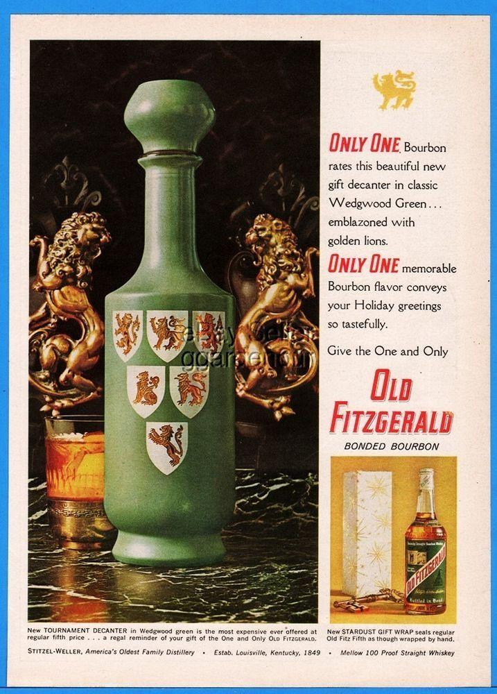 1963 Old Fitzgerald Bourbon Tournament Decanter Stardust Gift Wrap ...
