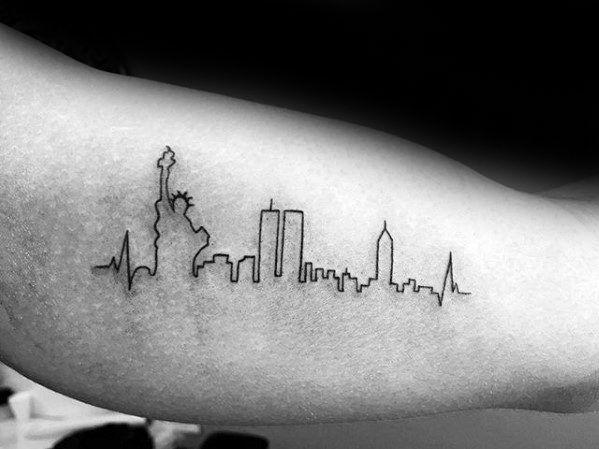 60 New York Skyline Tattoo Designs For Men Big Apple Ink Ideas Nyc Tattoo Skyline Tattoo New York Tattoo