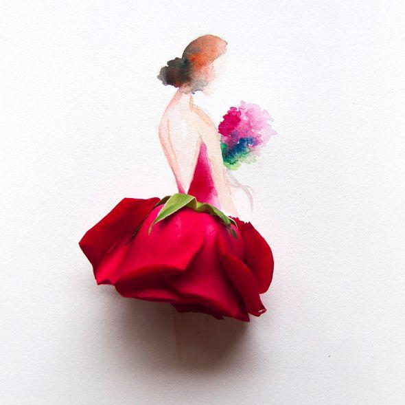 elle peint laquarelle de magnifiques robes faites avec de vraies fleurs dessin pinterest. Black Bedroom Furniture Sets. Home Design Ideas