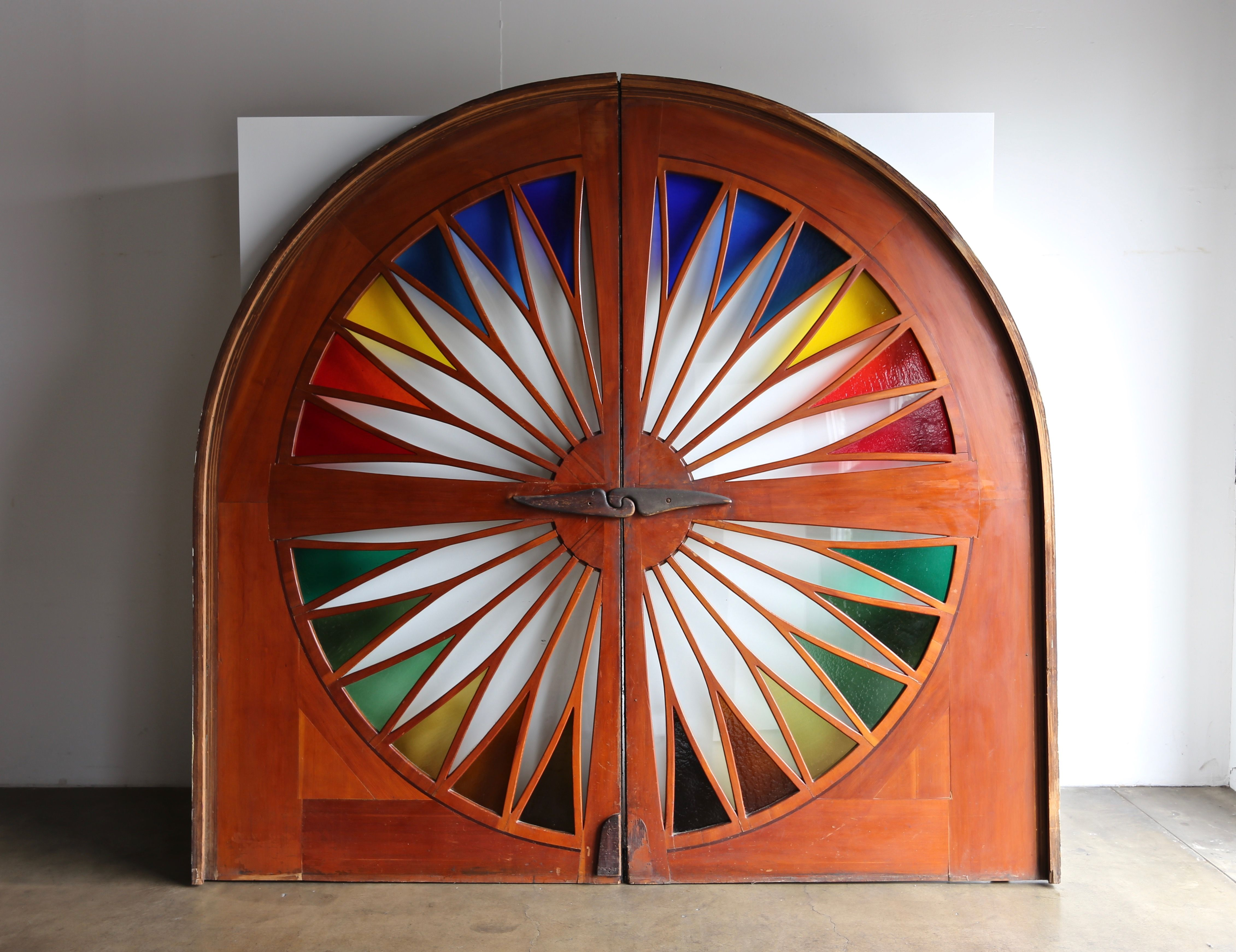 Monumental Stained Glass Sliding Doors Circa 1970 Sliding Glass Door Sliding Doors Stained Glass