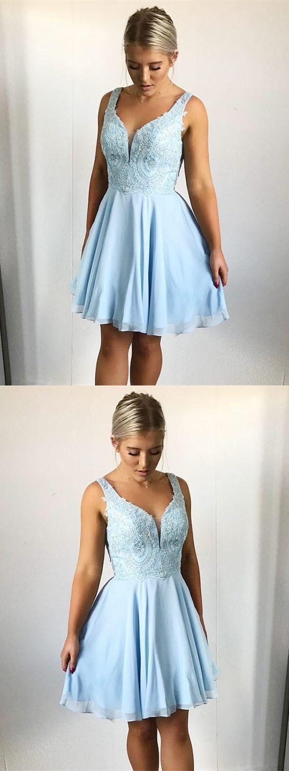 Aline vneck aboveknee light blue homecoming dress with appliques