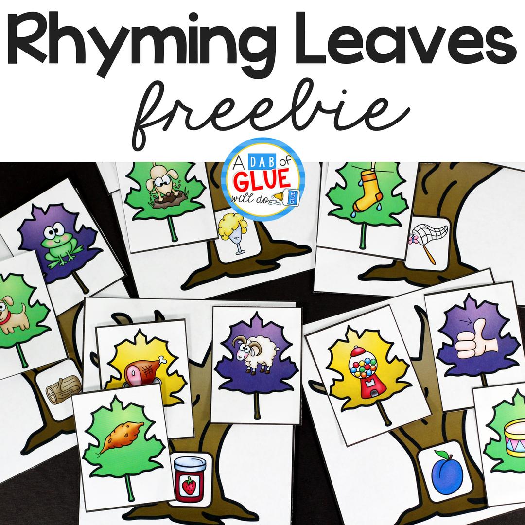 Rhyming Leaves Match Up Freebie