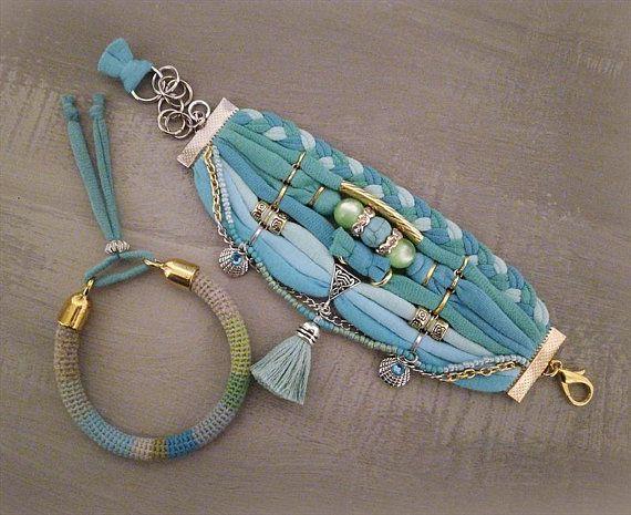 Bohemian Bracelet Turquoise Gypsy Blue Green Boho Bracelet Set, Tassel Bracelet, Aqua Bracelet, TShirt Bracelet Beach Boho Jewelry #gypsy