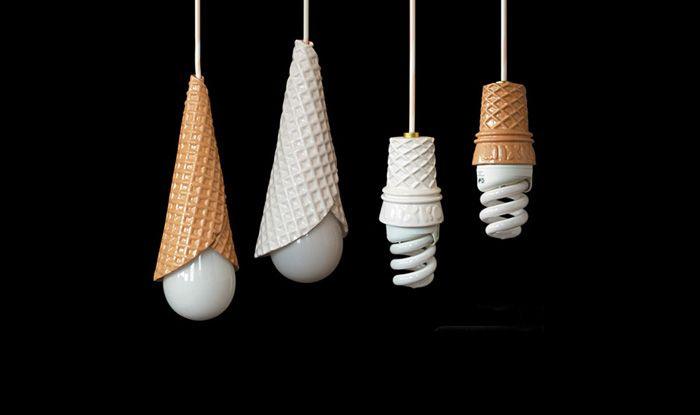 Design Inspiration Whippy Light Lampe Cornet De Glace By Nahoko Koyama Cream Lamps Creative Lamps Cool Lamps