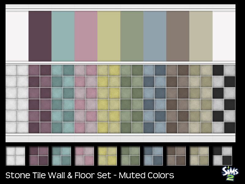sailfindragon - Stone Tile Wall & Floors - Muted Colors | Sims 2 ...
