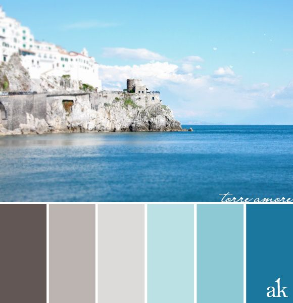 A Tower Inspired Color Palette Warm Gray Sky Blue Cerulean Amalfi